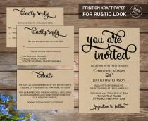 wedding photo - Wedding Invitation Printable Suite, Printable Wedding Invitation, DIY Wedding Invitation Set, caligraphy wedding invitation, Rustic, simple
