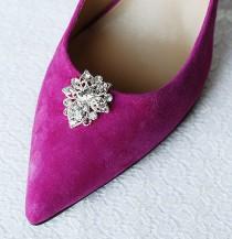 wedding photo - Bridal Shoe Clips Crystal Rhinestone Shoe Clips Wedding Party (Set of 2) FREE Combine Shipping US SC058LX
