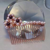 wedding photo - Shell pearl hair comb: Flower hair comb; bridal hair accessories; bridal accessories; bridal jewellery; wedding jewellery; hair decorations