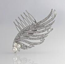 wedding photo - Crystal Hair Comb, Angel Wing Bridal Hair Comb, Bridal Hair Clip, Crystal Hair Piece,  Wedding Accessories,  ANGEL