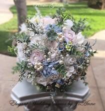 wedding photo - RUSTIC WEDDING BOUQUET - 499, Vintage Blue and Ivory Brooch Bouquet, Jeweled Bouquet, Brooch Bouquet, Winter Bouquet, Deposit