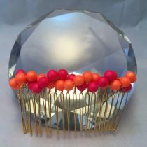 wedding photo - Bridal hair comb in Hot pink and orange shell pearls: decorative hair accessory; decorative hair comb;