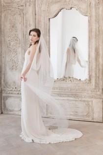 wedding photo - Wedding Veil, Cut edge Wedding Veil, Single Tier Wedding Veil, Floor length veil, Chapel length veil, Cathedral length, Bridal Accessories,