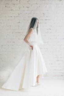 wedding photo - Horsehair Veil, Horsehair Drop Veil, Wedding Veil, Ivory  Veil, Off White Veil,  Fingertip Veil,  Horse Hair Wedding Veil - Victoria