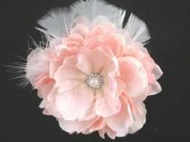 wedding photo - Pink Bridal Flower Hair  Clip Wedding Hair Clip  Wedding Accessory Peony Hair Clip Bridal Accessory