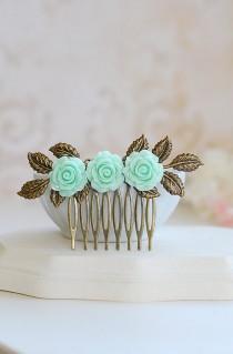 wedding photo - Mint Green Rose hair Comb, Seafoam Green Flower Leaf Branch Hair Accessory Mint Wedding Bridal Hair Comb Bridesmaids Gift Garden Wedding