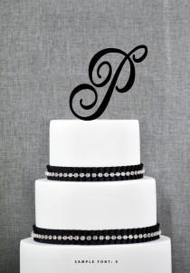 wedding photo - Personalized Monogram Initial Wedding Cake Toppers -Letter P, Custom Monogram Cake Toppers, Unique Cake Toppers, Traditional Initial Toppers