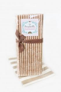 wedding photo - Lumberjack party - Wood Grain paper straws - Woodland party - Rustic Wedding Decor - Cake Pops - Party Decor - Woodland Decor - Brown Straws