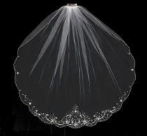 wedding photo - Beaded Scallop Fingertip Length Wedding Veil in White, Diamond White, Ivory or Champagne