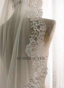 wedding photo - Custom Bridal Veil, Vintage Rose Lace Veil, Alencon Rose Lace Veil, Mantilla Style or with Blusher. Fingertip, Waltz, Chapel, Cathedral Veil