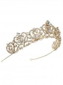 wedding photo - Gold Bridal Crown, Gold Rhinestone Crown, Gold Princess Tiara, Wedding Crown, Princess Crown, Rhinestone Tiara, Gold Bridal Tiara ~TI-3173-G