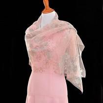wedding photo - Pink wedding shawls, classic wedding, floral Glitter cape, sheer bridal wrap,  bridal cover up, peach color shawl, evening gown shawl