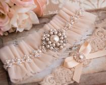 wedding photo - Blush Wedding Garter Set, Blush Bridal Garter Set, Tulle Garter, Blush Tulle Wedding Garter, Blush Tulle Wedding Garter, Pearl Garter