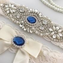wedding photo - Something Blue garter set, Blue Wedding Garter, Bridal Garter Set, Ivory Garter Set, Crystal Pearl Garter, Ivory Wedding Garter
