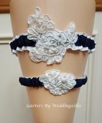 wedding photo - Navy Blue and White Lace Wedding Garter Set / Navy White Bridal Garter/ French Lace Wedding Garter/ Wedding Garter Belt