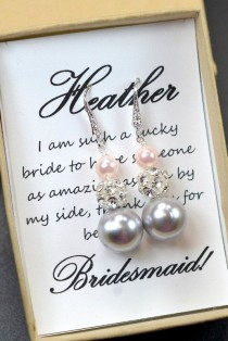 wedding photo - Charcoal Gray Blush Pink ,Wedding Jewelry Bridesmaid Gift Bridesmaid Jewelry Bridal Jewelry Gray Pink Pearl Drop Earrings Cubic Earrings