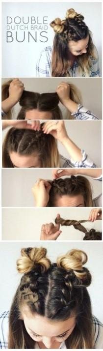 wedding photo - Double Dutch Braid Buns Half-up Hairstyle