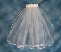 wedding photo - Short White First Communion Veil  Tiny One Tier Communion Veil with White Soutasch Cord Edge 12 Inches Long 68971N