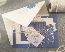 wedding photo - Hydrangea Wedding Invitation Suite, Sample, Silver Twine Tag, Spring Wedding Invitation, Blue Cream Floral Outdoor Wedding