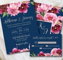 wedding photo - Navy Wedding Invitation, Navy and Pink Wedding, Printable Wedding Invitation, Floral Wedding, Navy and Pink, Navy and Blush