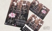 wedding photo - New for 2017! Rustic Mason Jar Wedding Invitation set. Mason Jar and Flowers Wedding Invitation set. Mason Jar, flowersand fairy lights