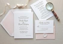 wedding photo - Letterpress Wedding Invitation - Magnolia Design - Foil, Calligraphy,Traditional, Elegant, Simple, Classic, Script, Destination, monogram