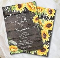 wedding photo - Rustic Wedding Invitation Template, Sunflower Invitation, Country Wedding, Invitation Kit, Wood Invitation