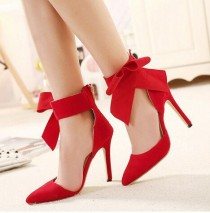 wedding photo - Big Bow Tie Pumps Butterfly Pointed Stiletto Women High Heels Shoes Dress Wedding Shoes