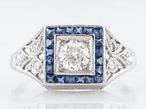 wedding photo - Antique Engagement Ring Art Deco .28 Old European Cut Diamond in Platinum