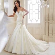 wedding photo - Mermaid Wedding Dress Sweetheart Organza Lace Up Back