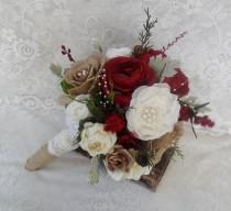 wedding photo - Bridal Bouquet, Rustic Wedding Bouquet, Christmas Bouquet, Burgundy Red Bouquet, Woodland Bouquet, Winter Bouquet, Brooch Bouquet, Vintage