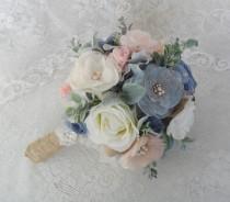 wedding photo - Fabric Bridal Bouquet, Dusty Blue & Blush Bouquet, Rustic Wedding Bouquet,Brooch Bouquet,Wedding Accessory,Vintage Bouquet,YOUR CHOICE COLOR