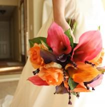 wedding photo - Calla Lily Bouquet: Real Touch in Pink, Purple, and Orange for Summer Wedding, Spring Wedding, Fall Wedding