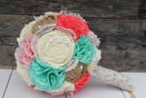 wedding photo - Romantic pink, coral, mint and butter rustic french pastry themed lace bridal wedding bouquet. Shabby chic fabric flowers.