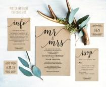 wedding photo - Modern Calligraphy Wedding Invitation, Printable Wedding Invitation Template, Simple Wedding Invitations, Editable Text, Mr Mrs VW10
