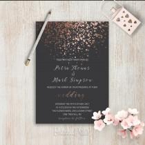 wedding photo - Elegant Wedding Invitations Simple Wedding Invitation Rose Gold Grey Wedding Invitation Set Modern Wedding Invitation Suite Pink Grey Invite