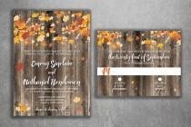 wedding photo - Autumn Wedding Invitation Set - Country Wedding Invitations, Affordable, Wood, Leaves, October, Maroon and Orange, September, Rustic, Fall