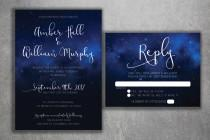 wedding photo - Stars Wedding Invitations Set Printed - Starry Night, Classy, Sky Wedding Invitations, Stars, Summer, Blue and White, Elegant, Dream,