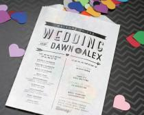 wedding photo - Modern Wedding Program - Confetti or Flower Toss Bag - Printed Bags