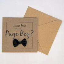 wedding photo - Page Boy Card, Will you be my... Page Boy, Personalised, 4x4 Brown Card, Black/White/Red/Blue/Pink/Purple Bow, Wedding Day Card, Proposal