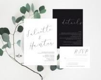 wedding photo - Minimal Wedding Invitation Printable , Wedding Stationery Suite , Modern Wedding Invitation Suite , Wedding Details , Printable Wedding
