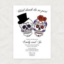 wedding photo - until death do us part wedding invitation sugar skulls - printable file Dia de los Muertos halloween engagement party invite day of the dead
