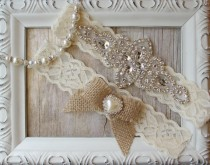 wedding photo - Customize It! Rustic Garter Set - Burlap Wedding Garter Set, Rustic Garter Set, Lace Bridal Garter, Burlap Garter Set, Rustic Wedding