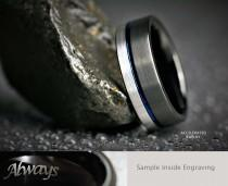 wedding photo - 8MM Mens Satin Black/Silver Tungsten With Blue Groove Wedding, Engagement, Promise Ring, Custom Laser Engraved Inside