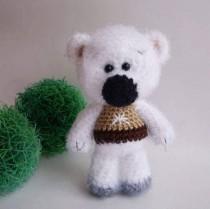 wedding photo - Plush white Bear stuffed toy woodland plush bear doll stuffed bear woodland animal little bear crochet toys softie bear Easter decor