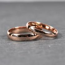 wedding photo - Rose Gold Wedding Band Set, Solid 14K Rose Gold Rings, Half Round Classic Style, Customizable, 3mm and 4mm Wide, Sea Babe Jewelry