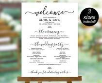 wedding photo - Wedding Program Sign Template, Printable Wedding Program, Wedding Program Poster, Program Sign, PDF Instant Download, Editable Sign