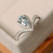 wedding photo - Aquamarine ring, pear cut, sterling silver, engagement ring, March birthstone