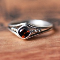 wedding photo - Red garnet ring silver, sterling silver garnet ring, January birthstone ring, bezel gemstone ring, organic unique ring, oxidized, custom