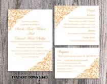 wedding photo - Wedding Invitation Template Download Printable Wedding Invitation Editable Invitation Elegant Floral Invitation Orange Wedding Invites DIY - $15.90 USD